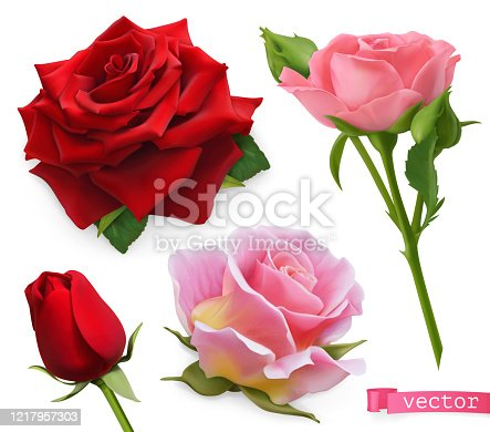 istock Red and pink roses. 3d realistic vector set 1217957303