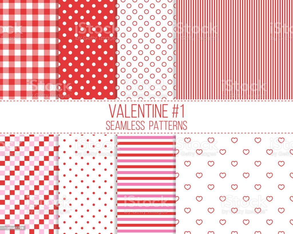 Red And Pink Seamless Valentine Patterns Set Stock Vector