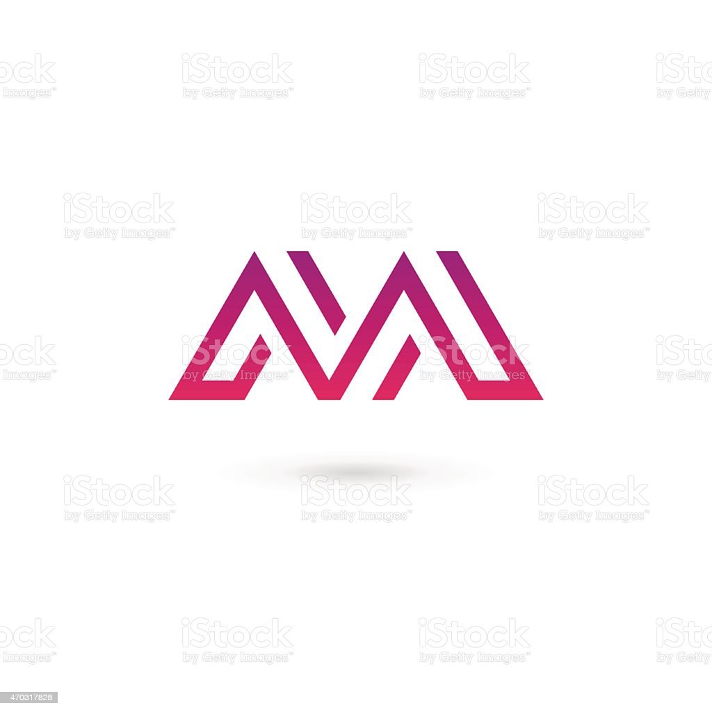Red and purple Letter M icon design template elements vector art illustration