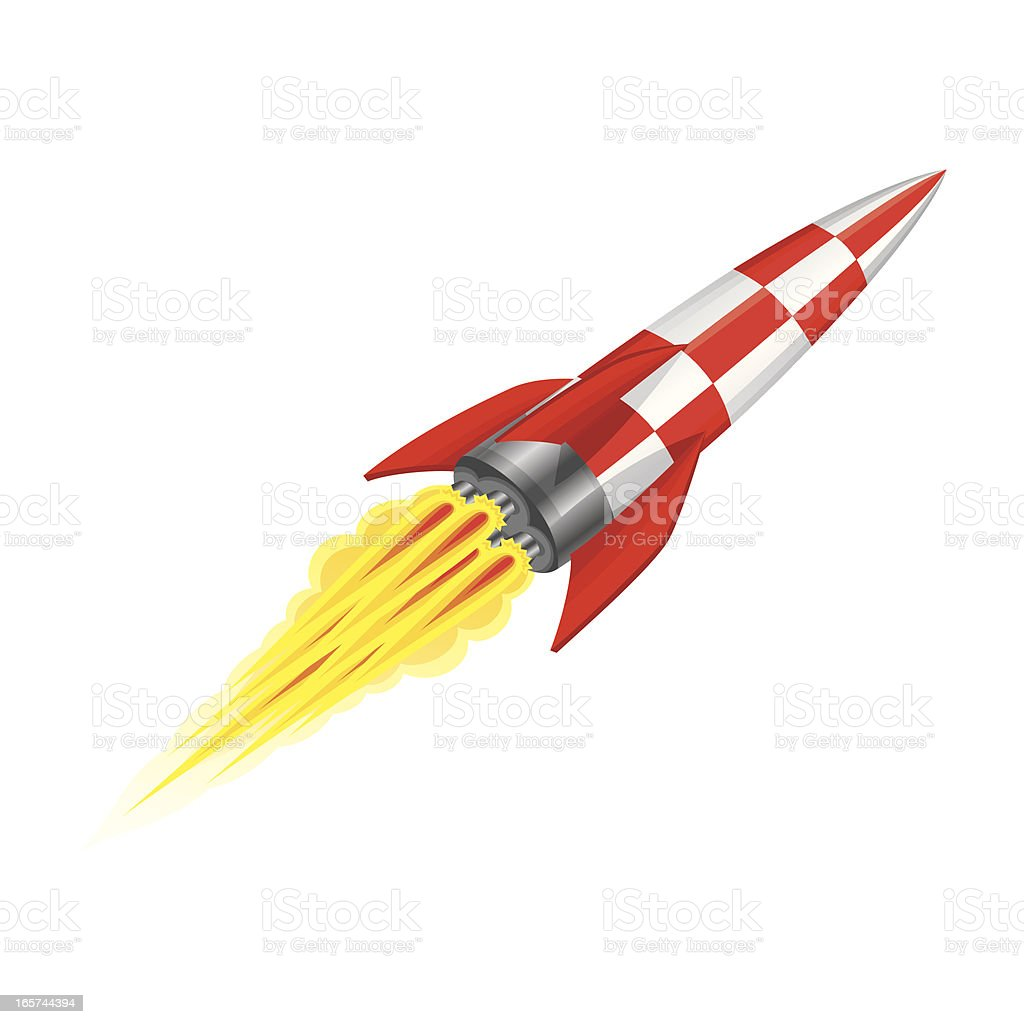 Red and silver rocket in motion across white background  royalty-free stock vector art