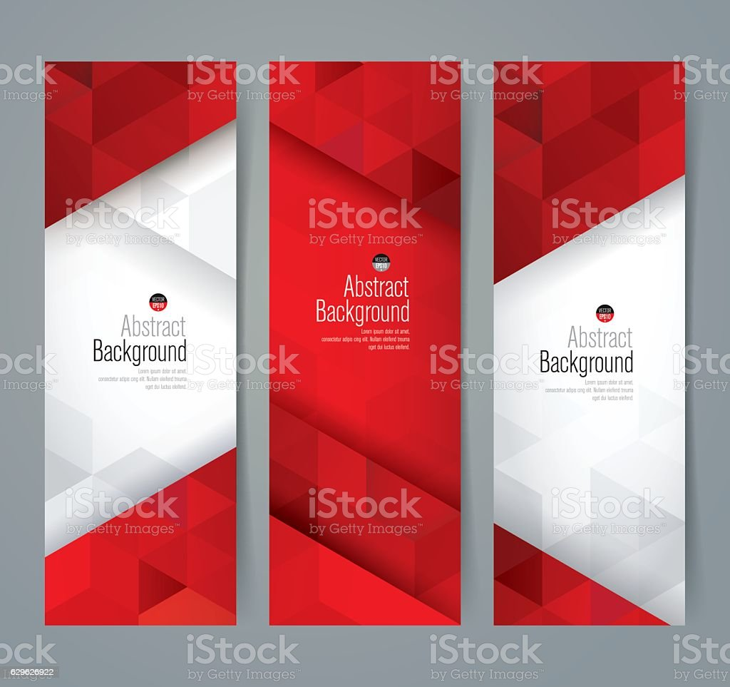Red and white abstract background banner. vector art illustration