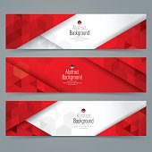 Red and white abstract background banner.