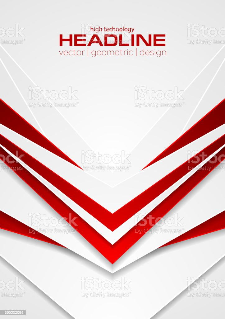 Red and white abstract tech arrows flyer background vector art illustration