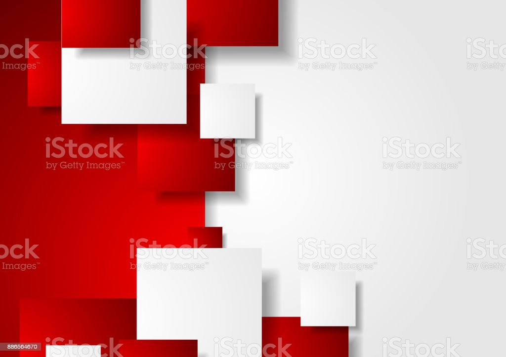 Red and white abstract tech squares background vector art illustration