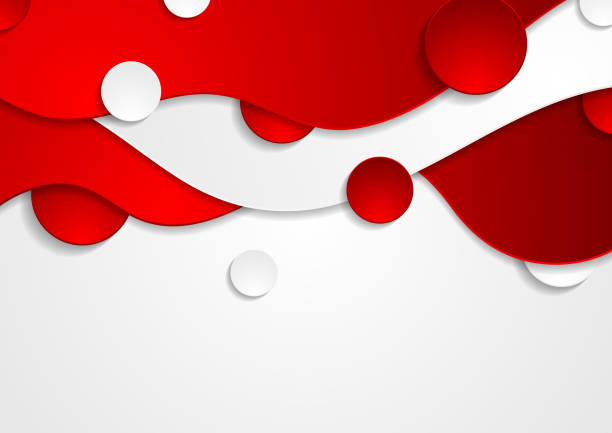 Red and white abstract wavy corporate vector background vector art illustration