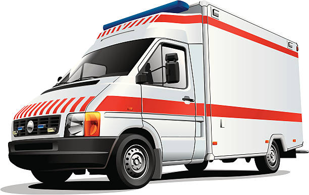 Red and white ambulance vehicle on a white background vector art illustration
