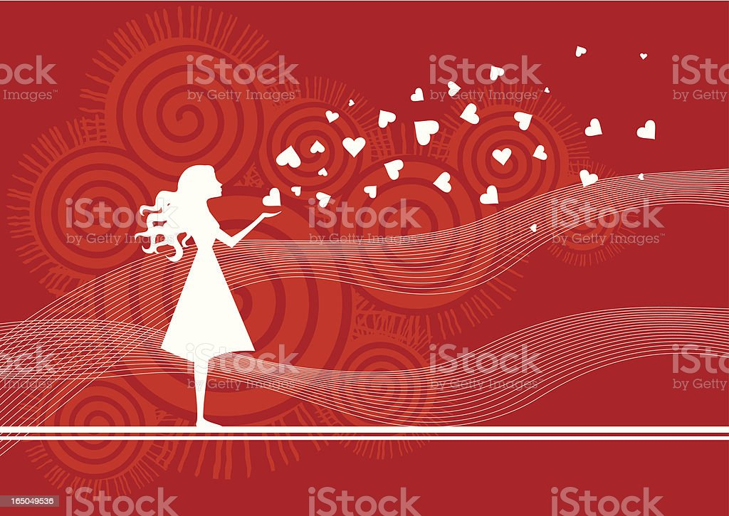 Red and white animation of a woman in a dress with hearts vector art illustration