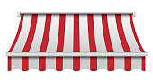 istock Red and white awning mockup, realistic style 1019358694