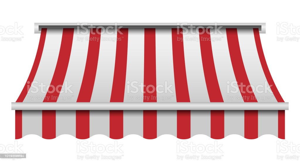 Red and white awning mockup, realistic style vector art illustration