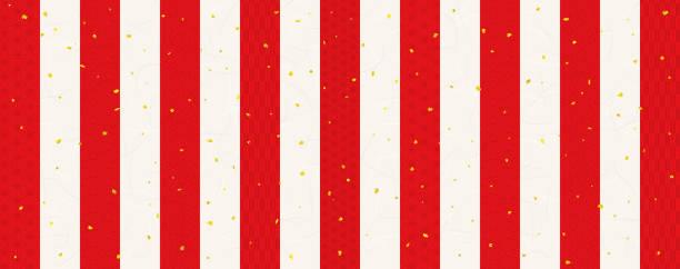 illustrazioni stock, clip art, cartoni animati e icone di tendenza di red and white background celebration background with traditional pattern (japanese paper texture) - sipario
