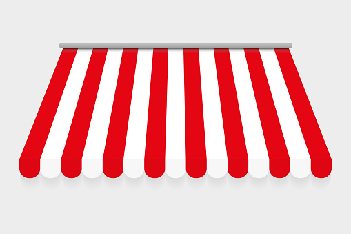Red and white canopy for market or shop. Red and white canopy for cafe. Isolated on gray background. Awning with a striped cloth for a circus or shop. Vector
