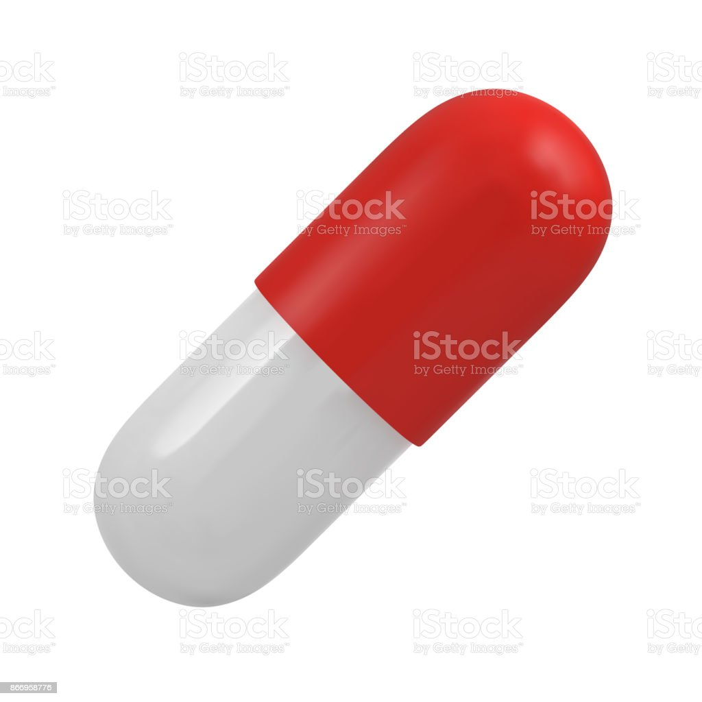 Red and white casule pill vector art illustration