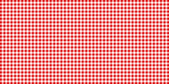 Red and white checked tablecloth pattern, checkered tablecloth for picnic - stock vector