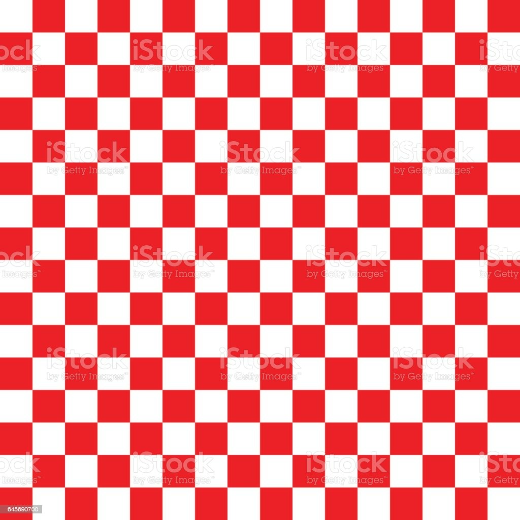 Red and white checkered background vector art illustration
