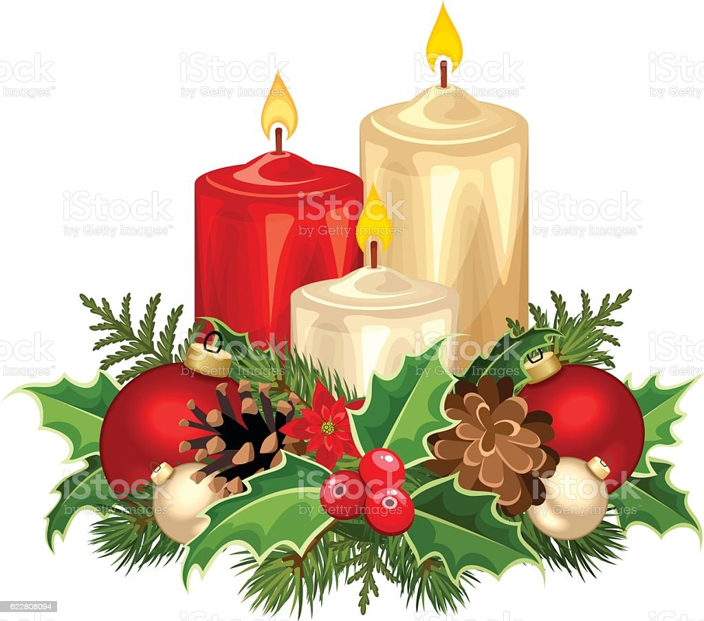 red and white christmas candles vector illustration stock vector