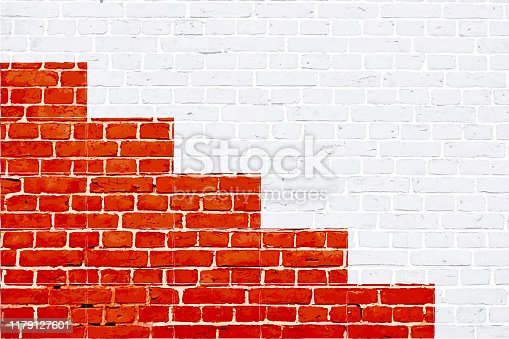 A white and red colored brick wall with rectangular blocks, textured grungy backgrounds. No text. No people, copy space, copyspace.  There are three red stripes of varying heights  at the bottom edge of the frame, making a red colored painted winner's podium. The masonry joints joint are white in color.  Xmas, Christmas theme backgrounds