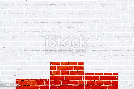 istock Red and white color brick pattern with a winner's podium painted on a white wall, texture grunge background vector illustration 1179104995