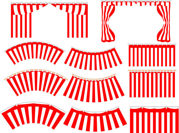 illustrazioni stock, clip art, cartoni animati e icone di tendenza di red and white curtain set - sipario