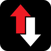 istock Red And White Direction Arrow Icon 1058082494