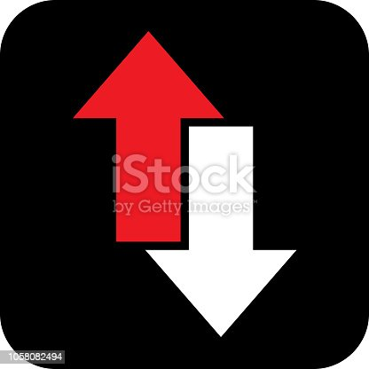 Vector illustration of a red and white direction arrows on a square black background.