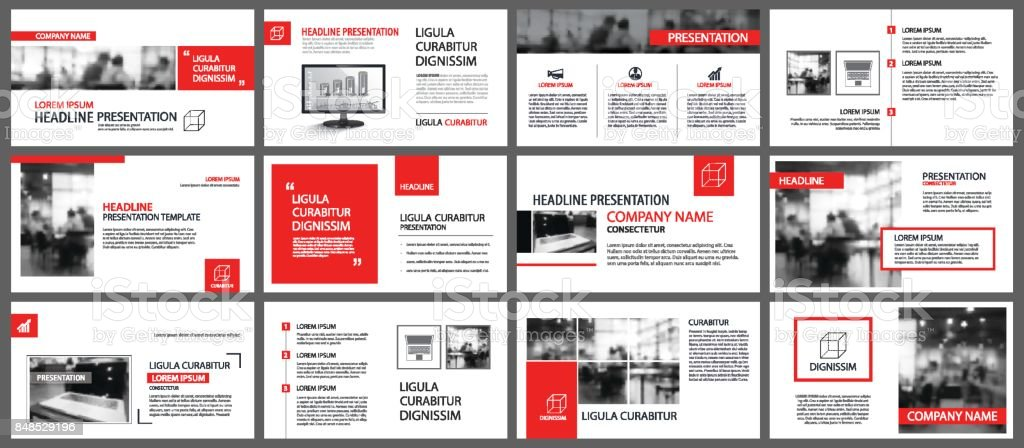 Red and white element for slide infographic on background. Presentation template. Use for business annual report, flyer, corporate marketing, leaflet, advertising, brochure, modern style. – artystyczna grafika wektorowa
