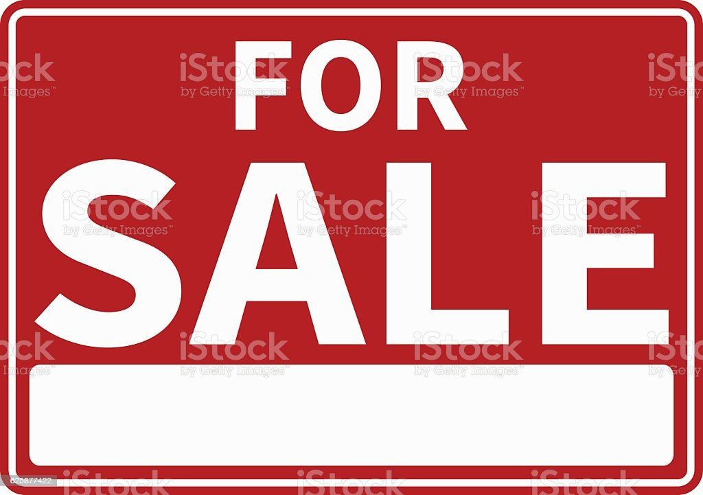 Red and White For Sale Sign vector art illustration