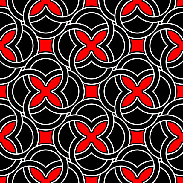 Bекторная иллюстрация Red and white geometric designs. Seamless black background