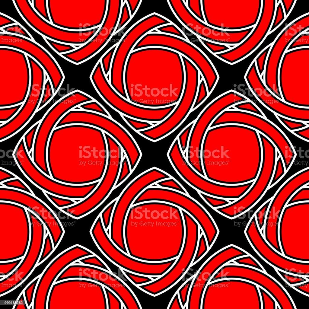 Disegni geometrici rossi e bianchi. Sfondo nero senza cuciture - arte vettoriale royalty-free di Astratto