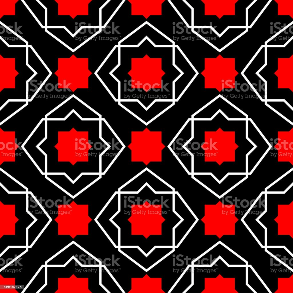 Red and white geometric designs. Seamless black background - Royalty-free Abstract stock vector