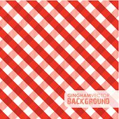 A red and white gingham pattern background