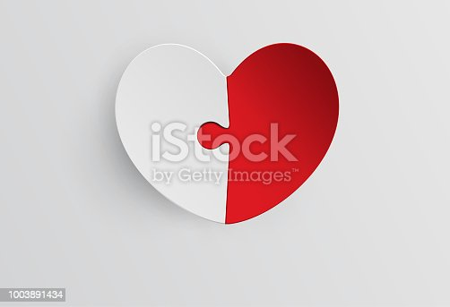 Red and White Heart jigsaw in Paper cut Style