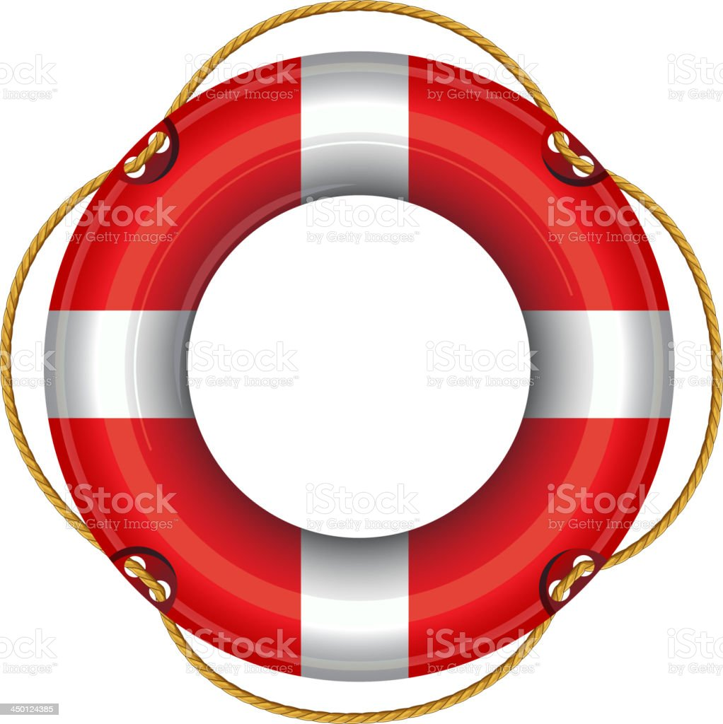 Red and white life saving ring buoy on a white background royalty-free red and white life saving ring buoy on a white background stock vector art & more images of buoy