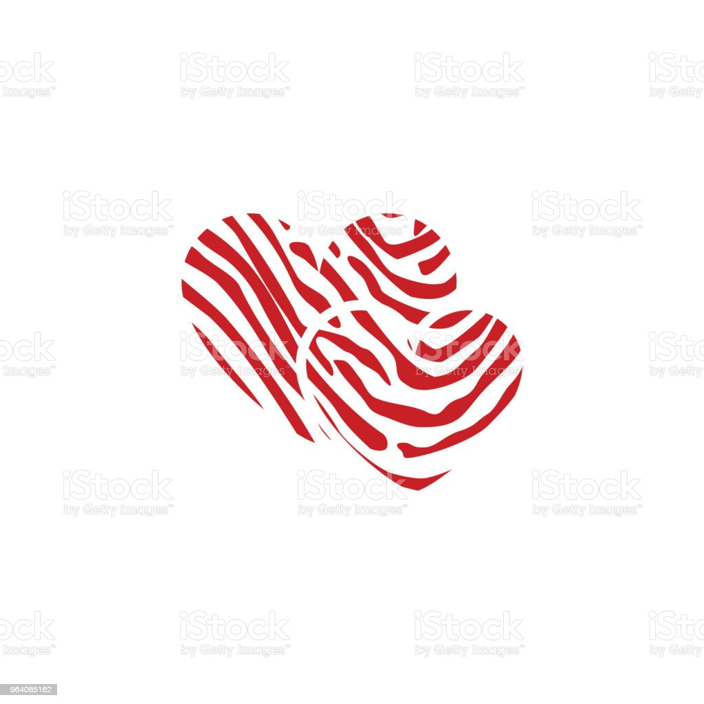 Red and White Love Vector Template Design - Royalty-free Abstract stock vector