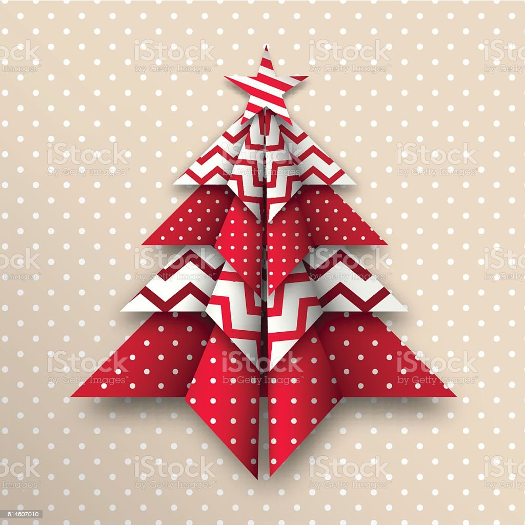 red and white origami chritmas tree, holiday theme, illustration vector art illustration