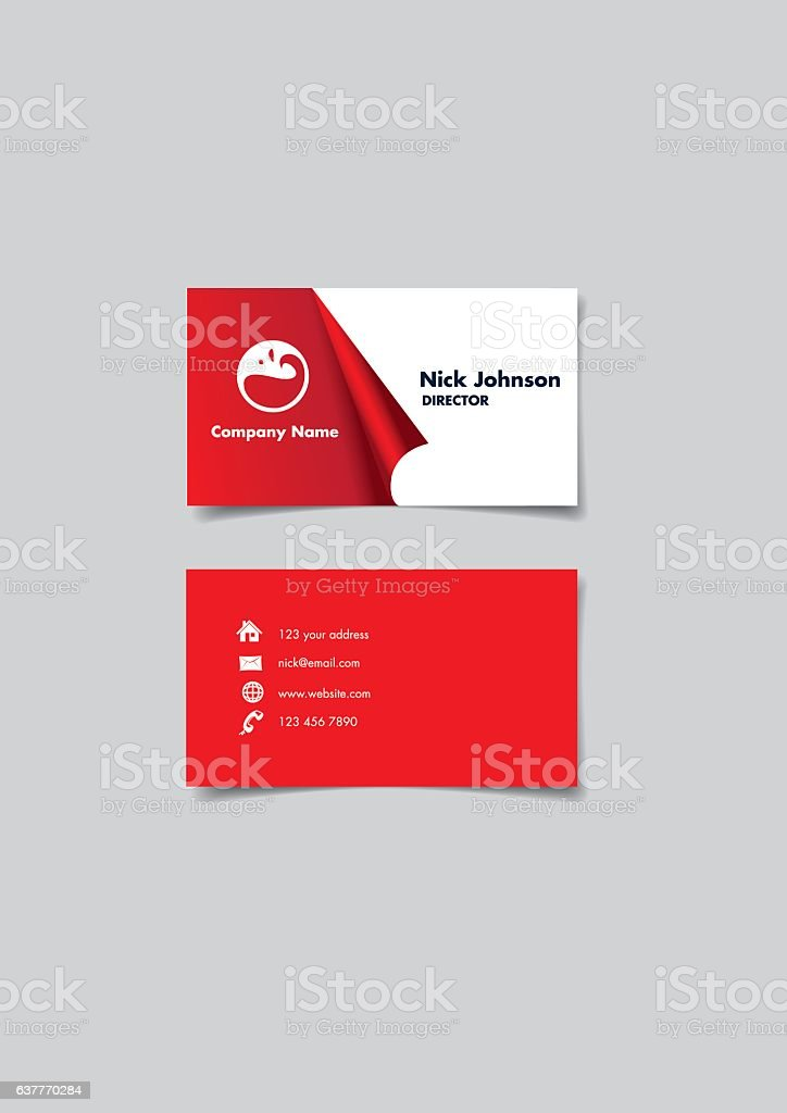 Red and white Page Curl Business Name Card Design vector art illustration