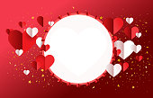 background  Valentine red and white paper hearts on dark red background with white circle space at middle.vector