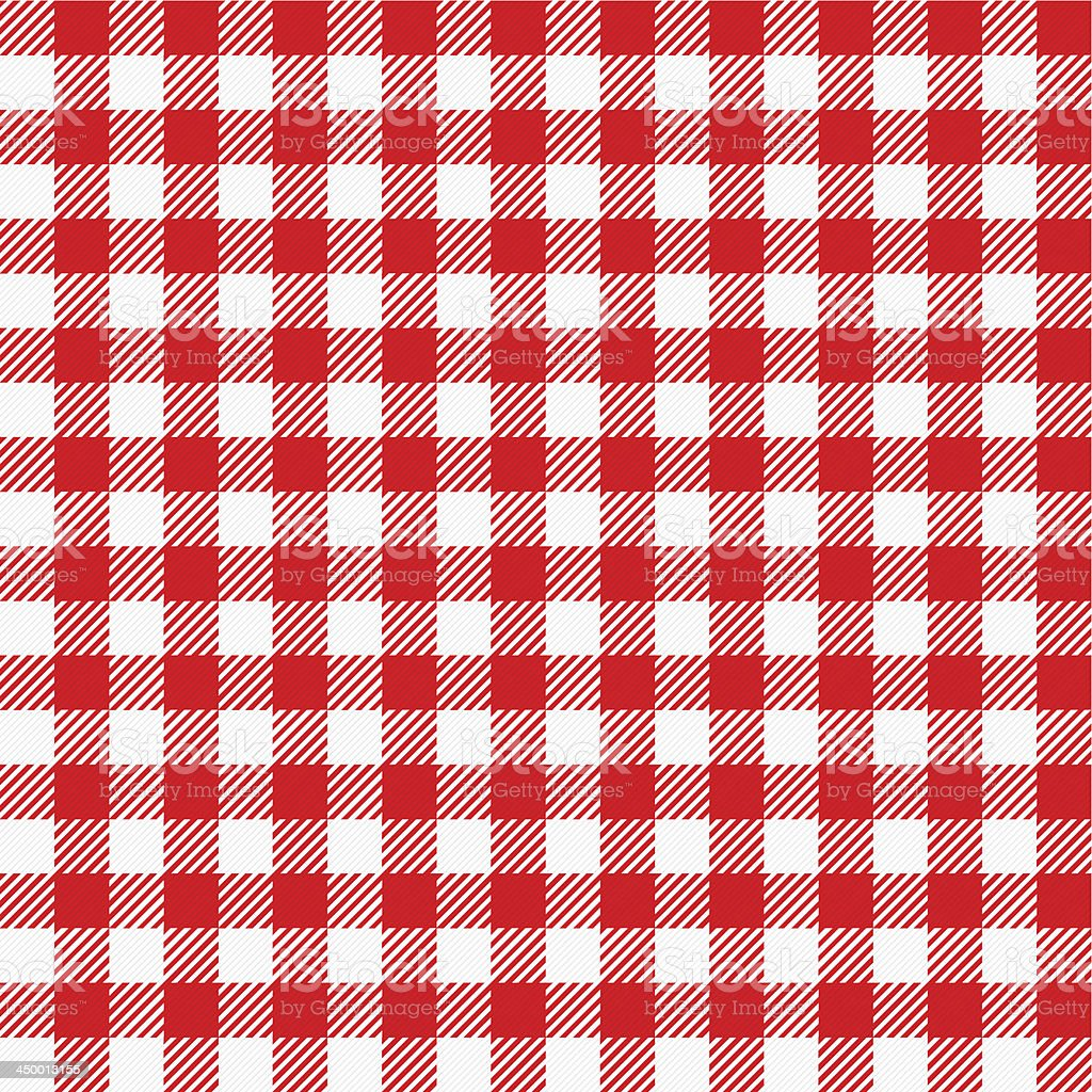 red and white plaid tablecloth vector art illustration