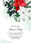 Red and white poinsettia flowers, christmas greenery, emerald eucalyptus, seasonal plants vector design frame. Winter chic wedding or new year party invitation card. Watercolor. Isolated and editable