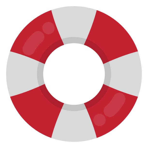 Red and White Ring Float Red and white inflatable ring float isolated on white background tube stock illustrations