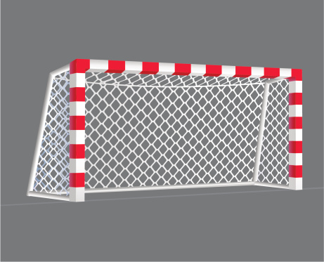 Red and white soccer net on grey background