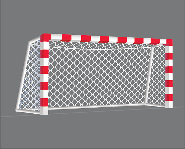 bildbanksillustrationer, clip art samt tecknat material och ikoner med red and white soccer net on grey background - handboll