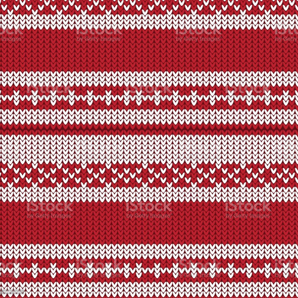 red and white striped with diamond shape and fence style knitted pattern background vector art illustration