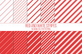 red and white stripes, seamless patterns set