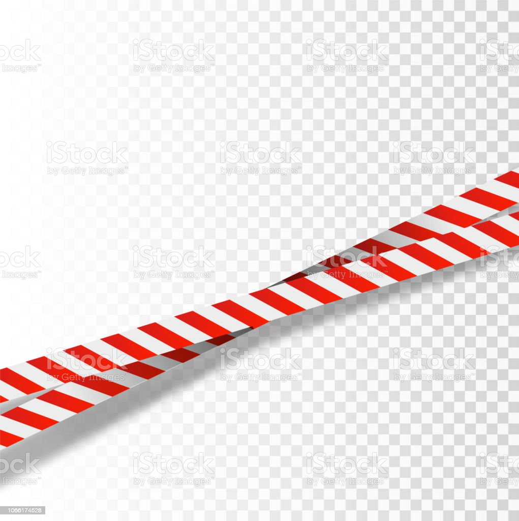 Red And White Stripes Set Warning Tapes Danger Signs Caution