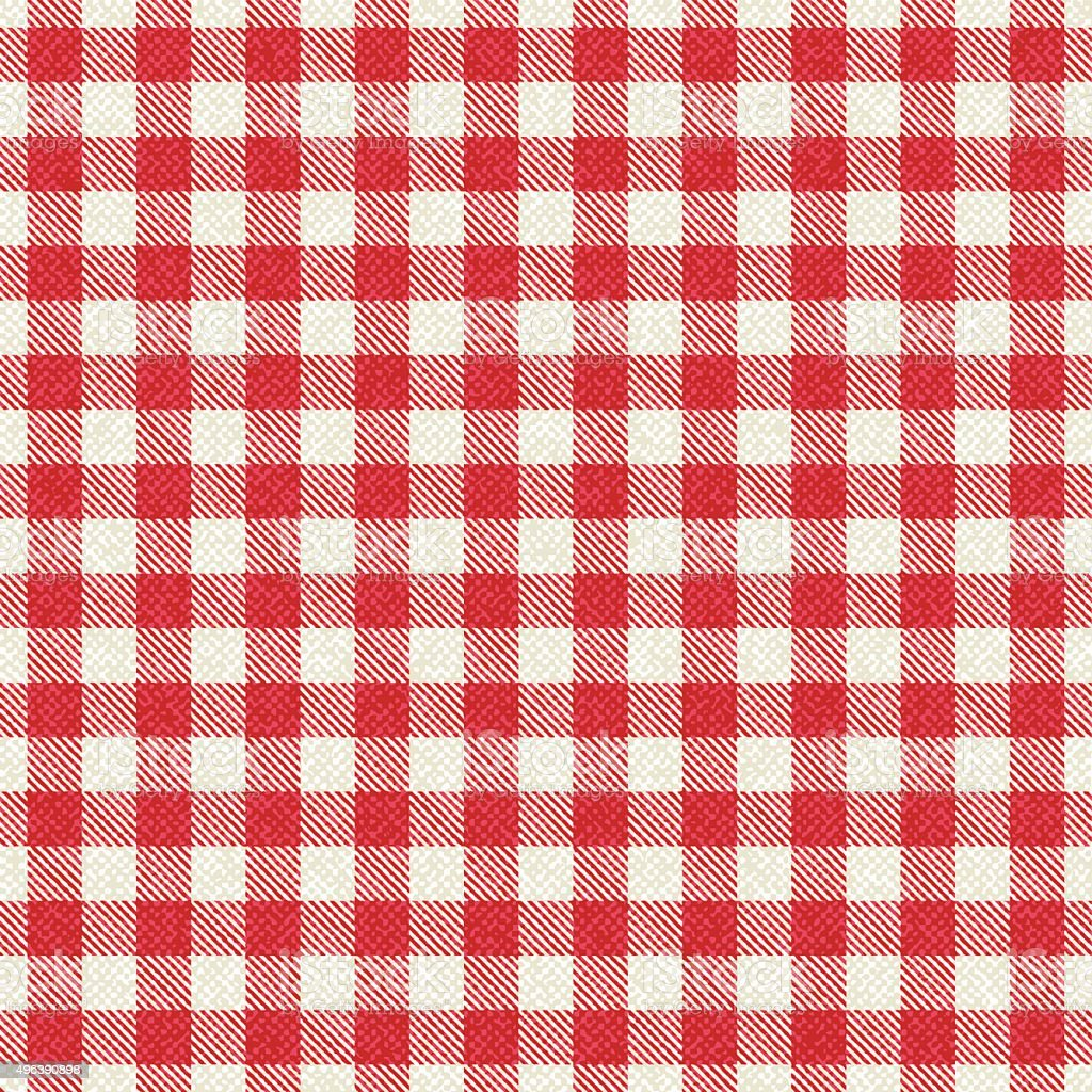 Red and white textured plaid gingham tablecloth vector art illustration