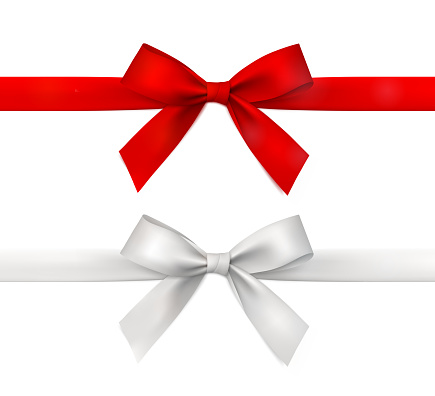 Red and white vector gift ribbon with bow.