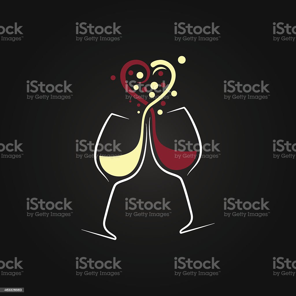 red and white wine love concept design background vector art illustration
