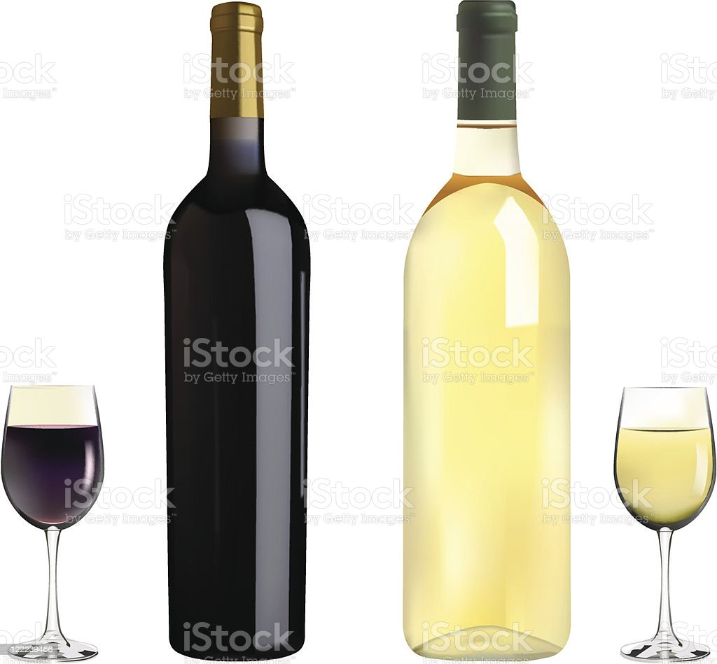 red and white wine vector art illustration