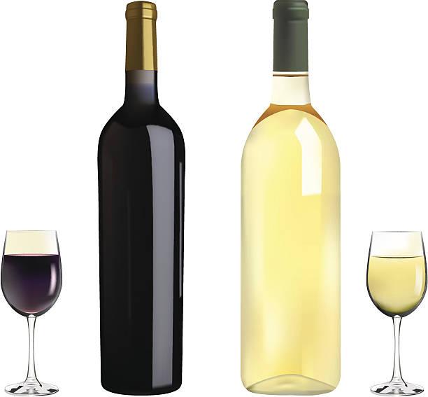 bildbanksillustrationer, clip art samt tecknat material och ikoner med red and white wine - vitt vin glas