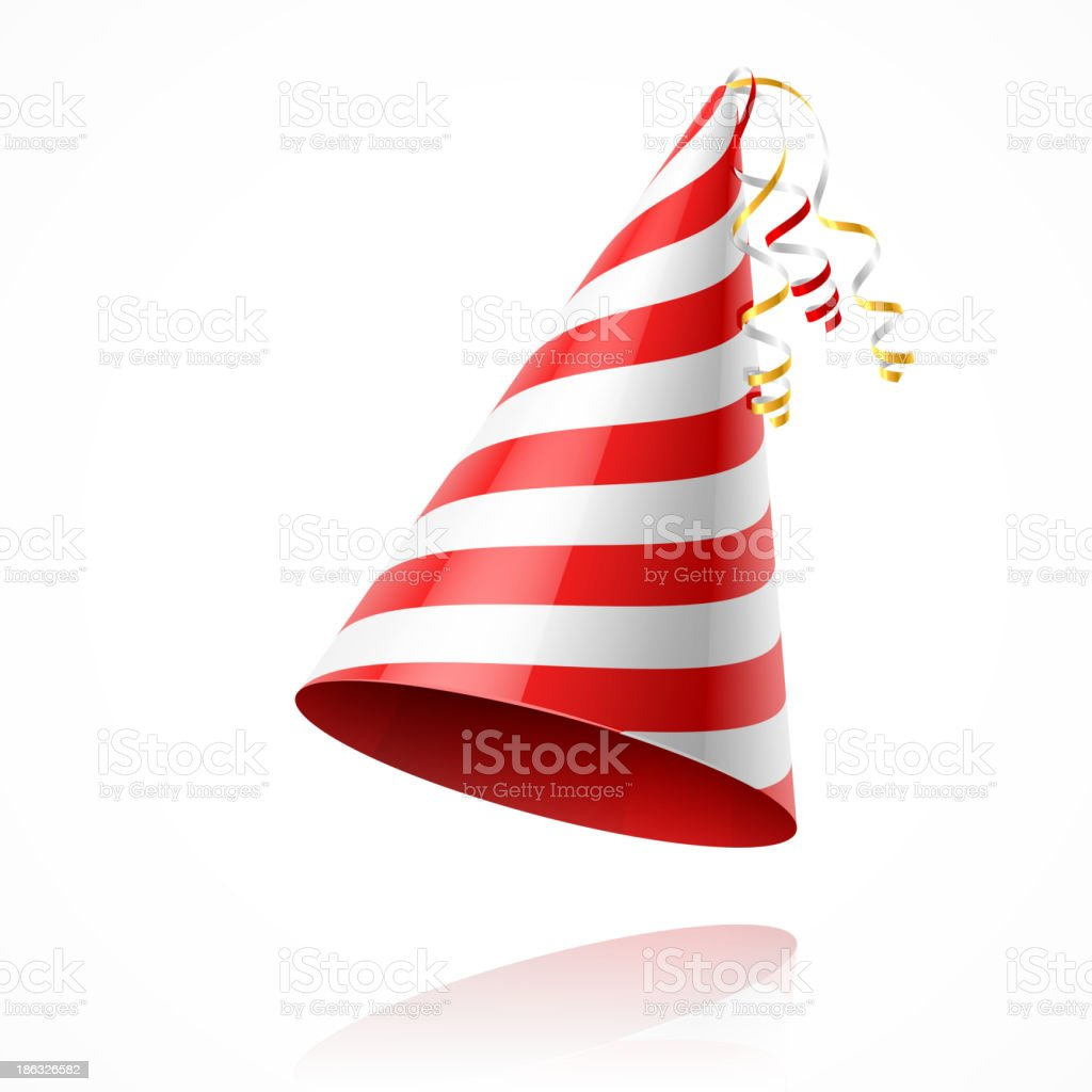 Red and white-striped conical party hat vector art illustration